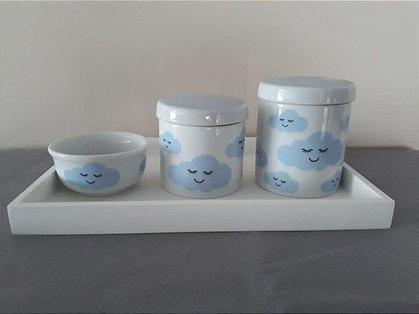 Kit Higiene Porcelana Nuvem Azul - Porcelana Regis
