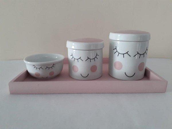 Kit Higiene Porcelana Cílios Rosa - Porcelana Regis