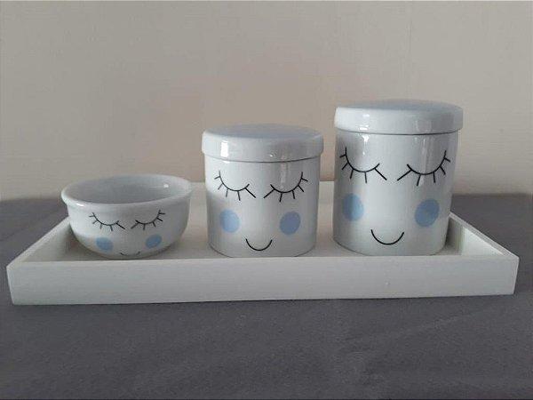 Kit Higiene Porcelana Cílios Azul - Porcelana Regis