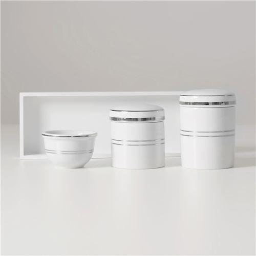 Kit Higiene Porcelana Listra Prata - Porcelana Regis