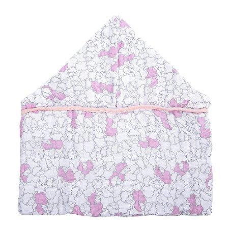Toalha com Capuz Ovelha Rosa - Incomfral