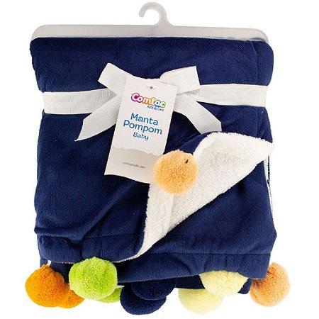 Manta Pompom Baby Azul e Branco - Comtac