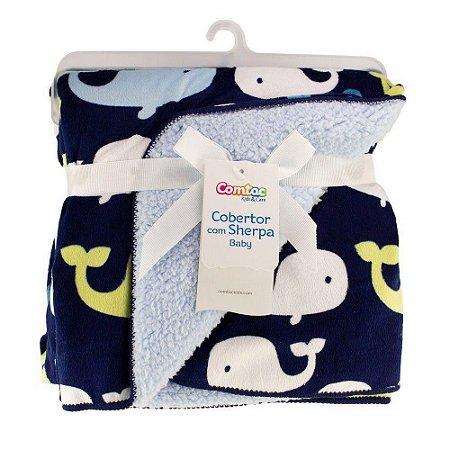 Cobertor com Sherpa Baby Baleia - Comtac