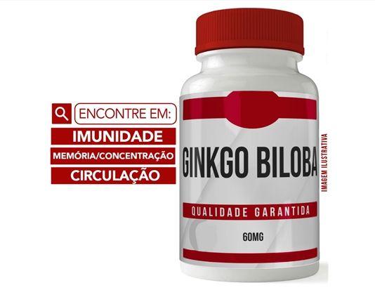 GINKGO BILOBA 60MG 60 CÁPSULAS - MEMÓRIA E CONCENTRAÇÃO