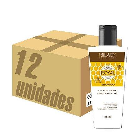 Caixa 12 unidades - Shampoo Royal Mel Capilar Geléia Real 300g Milady Cosméticos