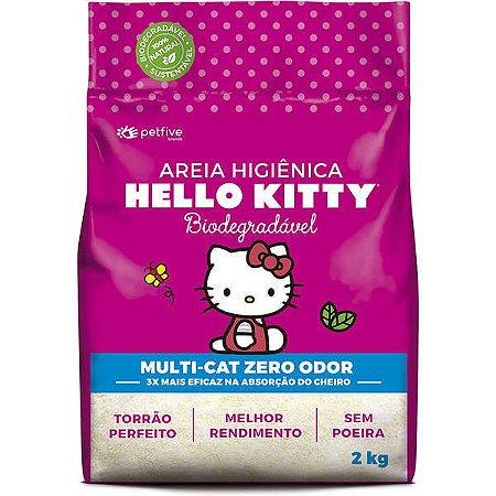 Areia Higiênica Biodegradável Fina rosa Hello Kitty para Gatos - 2kg