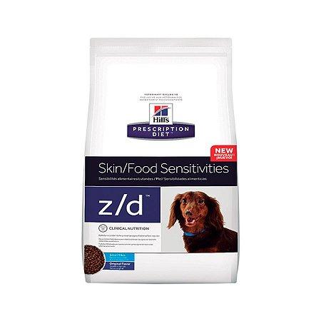 Ração Prescription Diet Z/D Alergias Alimentares e da Pele Hills para Cães Adultos Pedaços Pequenos 3,17kg
