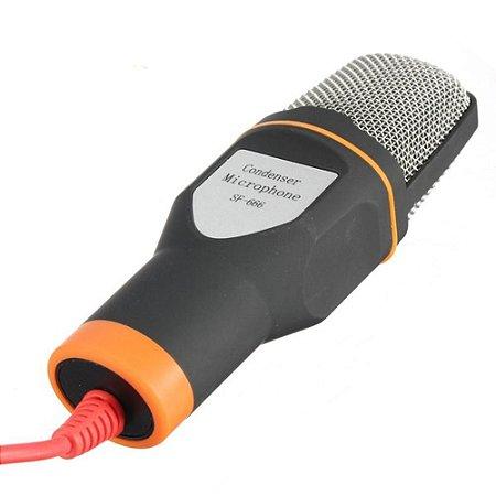 Microfone Condensador Com Tripe Para Gravação Profissional com saída P2 Para Celular, Pc E Notebook