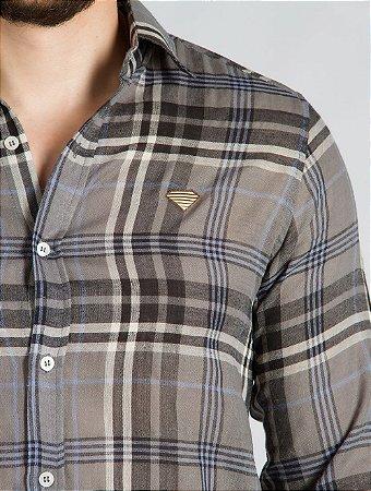 Camisa Algodão Xadrez Cinza