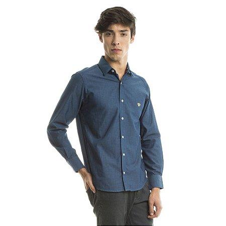 Camisa Tricoline Pieces Azul