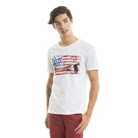 Camiseta Estampada Bandeira USA Branca