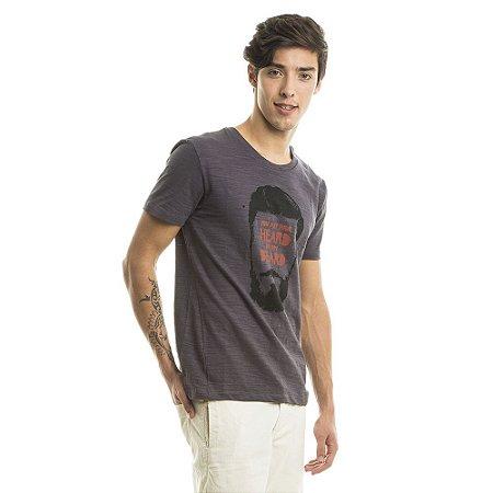 Camiseta Estampada Beard Cinza