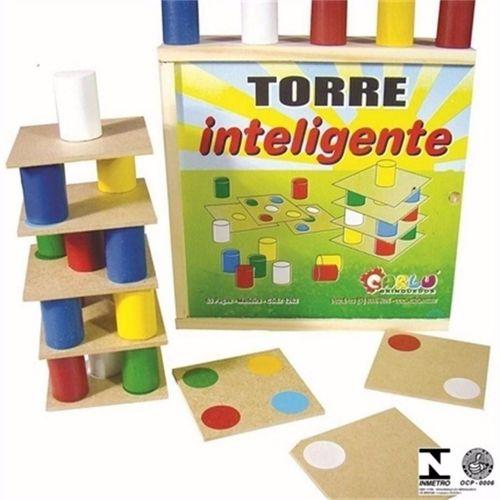 BRINQUEDO PEDAGÓGICO TORRE INTELIGENTE MADEIRA e M.D.F 63 peças