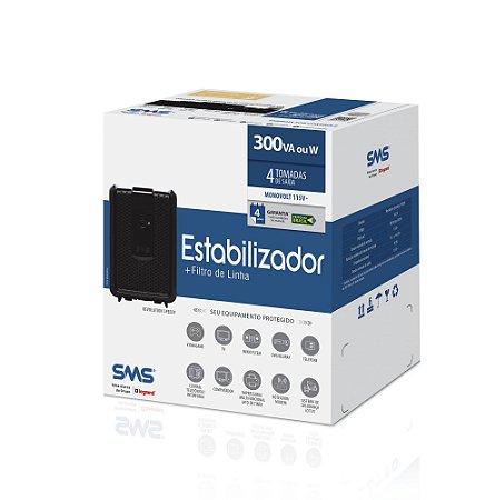 Estabilizador + filtro de linha SMS  115v c/4 tomadas Preto