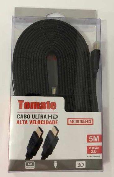 Cabo HDMI X HDMI FLAT 2.0 ULTRA HD 1080P 4K 5 Metros Tomate