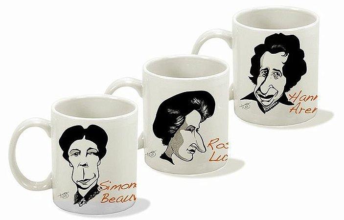 Canecas Série Pensadoras - Simone de Beauvoir, Hannah Arendt e Rosa Luxemburgo