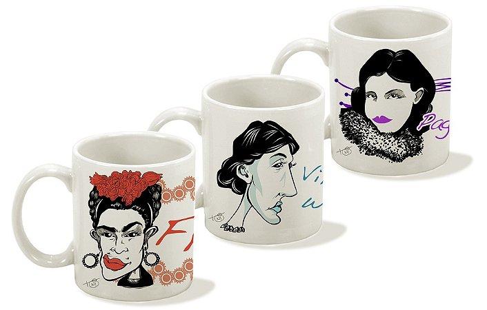 Canecas Série Mulheres Fantásticas - Frida, Virginia Woolf e Pagu