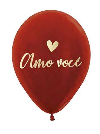 """BALÃO 12"""" VERMELHO COM GLITTER AMO VOCÊ (UNIDADE)"""