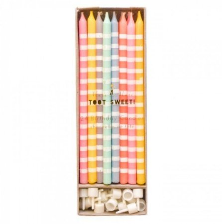 VELAS LONGAS KIT CANDY COLORS  (24 UNID)
