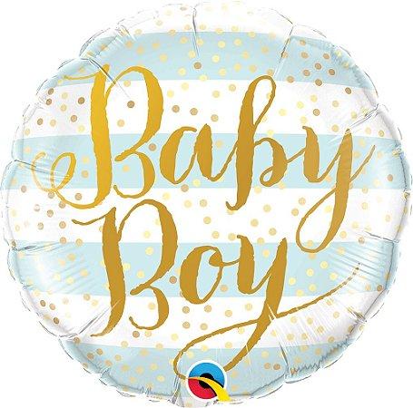 """BALÃO METALIZADO REDONDO BABY BOY 18"""" (UNIDADE)"""