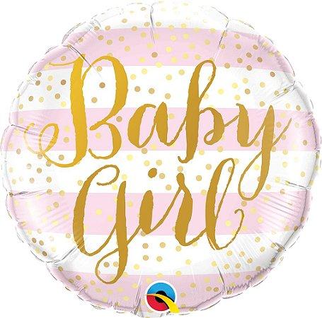 "BALÃO METALIZADO REDONDO BABY GIRL 18"" (UNIDADE)"