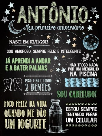 PÔSTER DE ANIVERSÁRIO MODELO CÉU