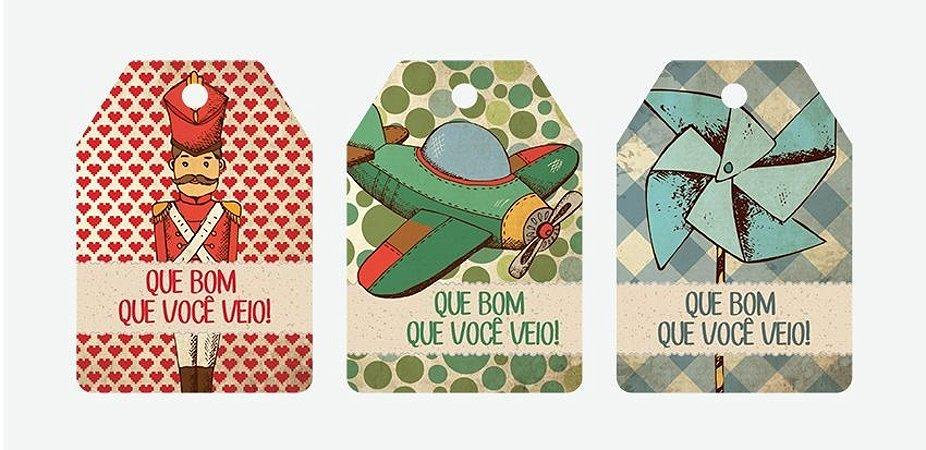 TAGS BRINQUEDOS ANTIGOS (18 UNIDADES)