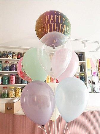 BUQUÊ DE BALÕES HAPPY BIRTHDAY CANDY COLORS