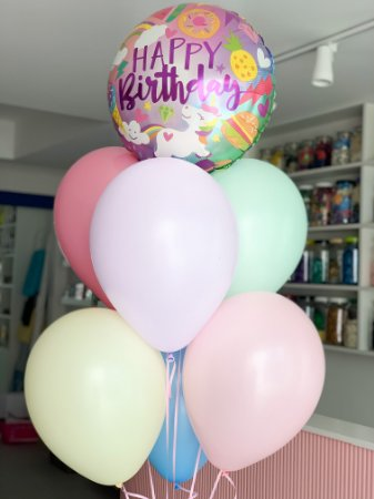 BUQUÊ DE BALÕES UNICÓRNIO HAPPY BIRTHDAY CANDY COLORS