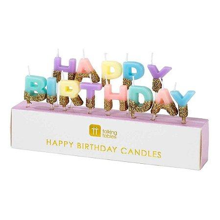 VELAS HAPPY BIRTHDAY CANDY & GOLD (13 UNIDADES)