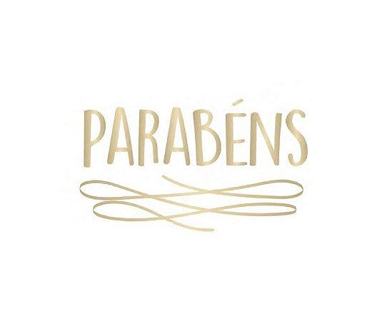 TRANSFER PARA BALÕES PERSONALIZADO PARABÉNS DOURADO G (32 X 28 CM)