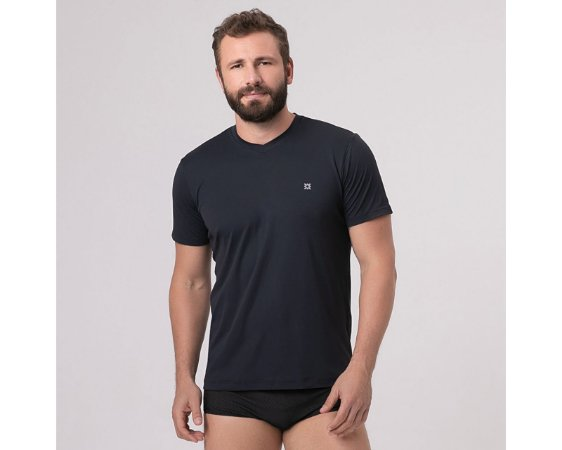 Camiseta com Proteção Solar Sport Fit Masculina UV.LINE - Preto
