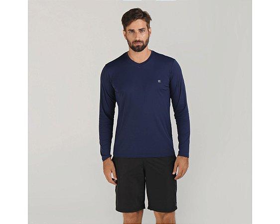 Camiseta com Proteção Solar UV.LINE - Sport Fit - Azul Marinho