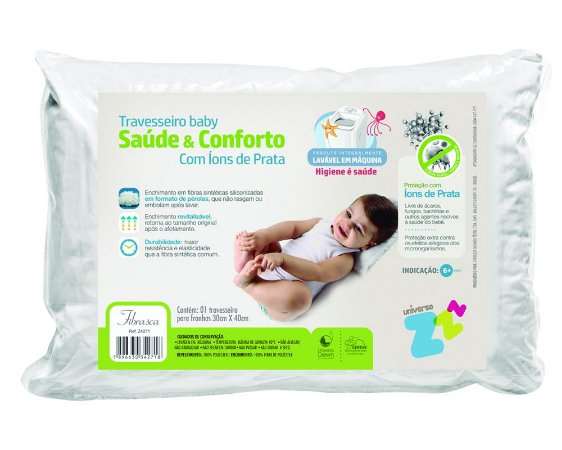 Travesseiro Baby Saúde e Conforto com íons de prata Fibrasca