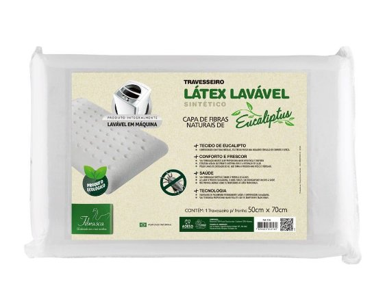 Travesseiro Látex Lavável Sintético Eucaliptus Fibrasca