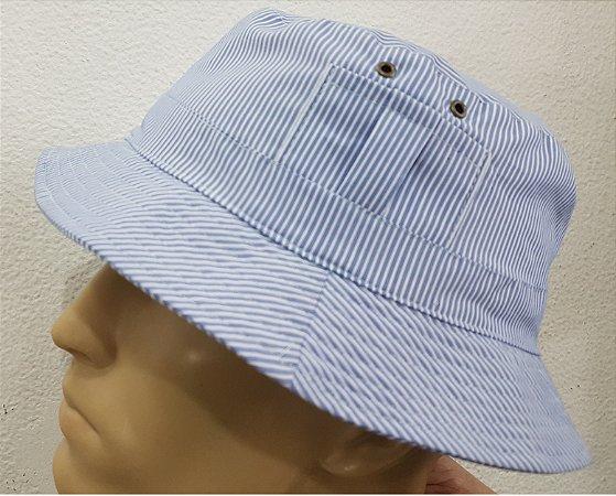 Chapeu aba redonda com proteção UV azul listrado