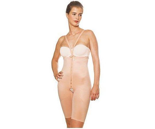 Cinta bermuda modeladora aberta com cintura alta, colchetes e alças destacáveis - código 2034