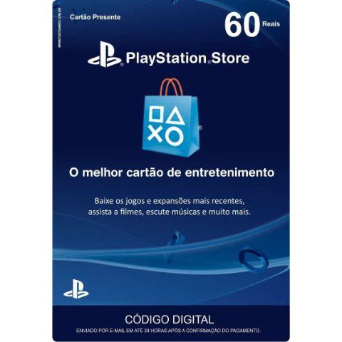 Cartão Presente 60 Reais PSN Brasil - Sony
