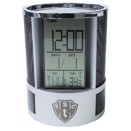 Porta Caneta Digital com Relógio e Despertador