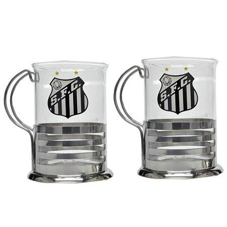 Kit C/2 Canecas de Vidro Santos FC