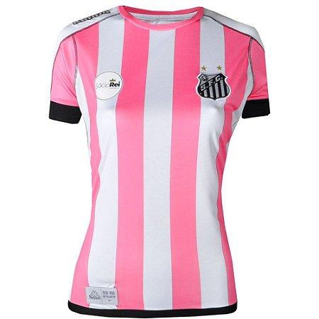 Camisa Santos Jogo II Official Feminina Out.Rosa 2017 ST Kappa
