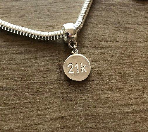Berloque 21k em prata 925