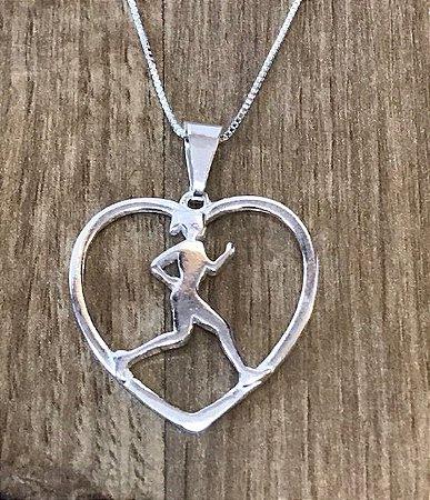 Pingente coração de corredora prata 925