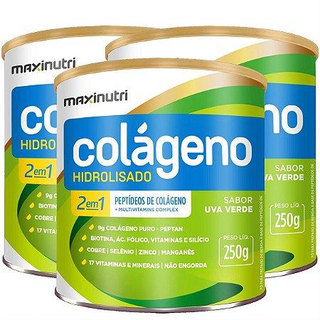 Colágeno Hidrolisado 2 em 1 MAXINUTRI 250g UVA VERDE