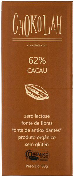 Chocolate Orgânico CHOKOLAH 62% CACAU