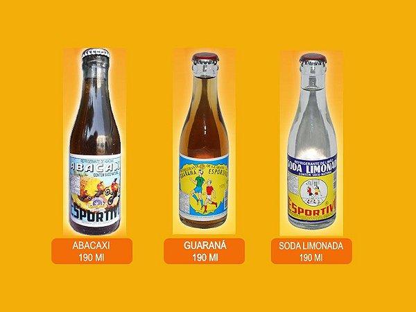 Refrigerante Esportivo 3 sabores 190ml Guaraná - Abacaxi - Soda Limonada (cx 6 unidades)