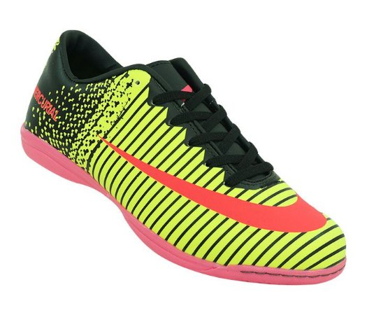 Chuteira Futsal Nike Mercurial Vortex 3 Amarelo Limão e Rosa ... db5584285d