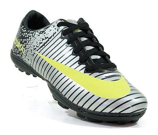 65f7f68871b50 Chuteira Society Nike Mercurial Vortex 3 Prata e Amarelo Limão ...