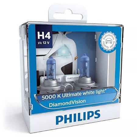 Philips H4 Diamond Vision 5000k Lâmpada Original Garantia
