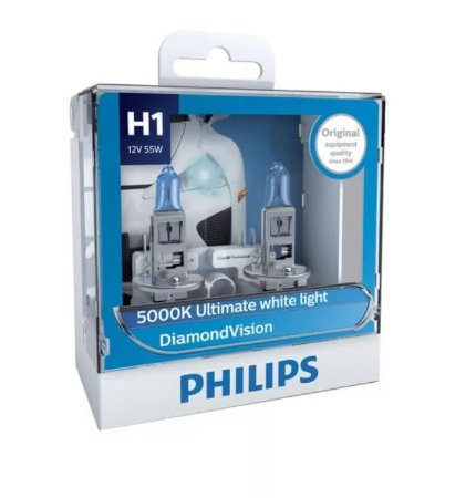 Philips H1 Diamond Vision 5000k Lâmpada Original